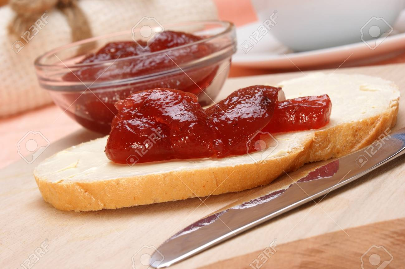 home baked bread with organic strawberry jelly Stock Photo - 9182698