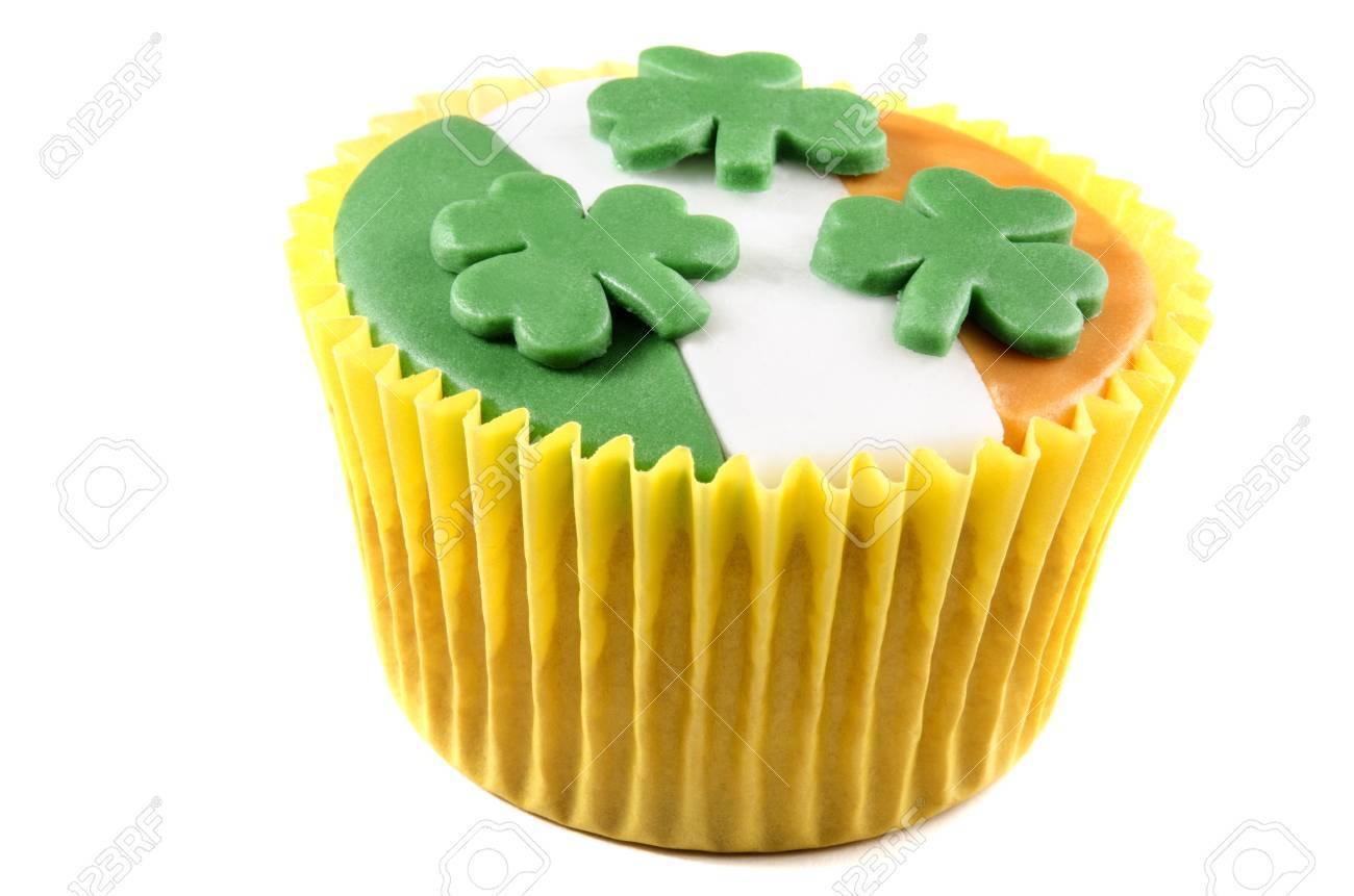 irish st patricks day cupcake with green, white and orange icing Stock Photo - 17293530