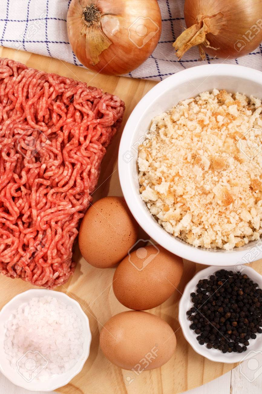Ingredients To Make Meat Balls Minced Pork Meat Eggs Coarse