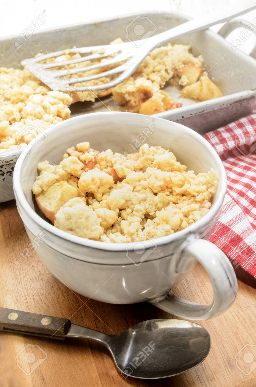 Home Made British Apple Crumble Cake In A Cup Stock Photo Picture