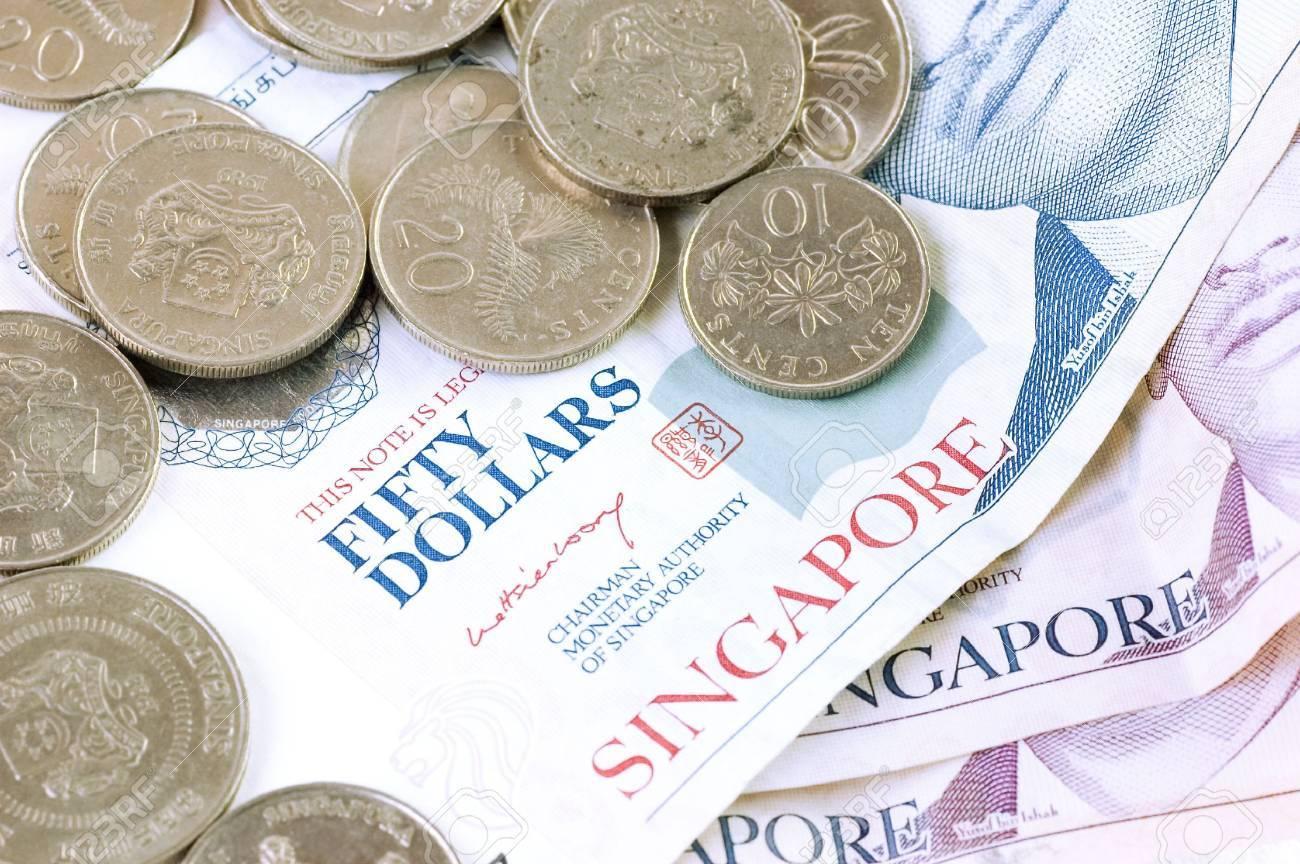 Singapur Dollar Banknoten Und Münzen Lizenzfreie Fotos Bilder Und
