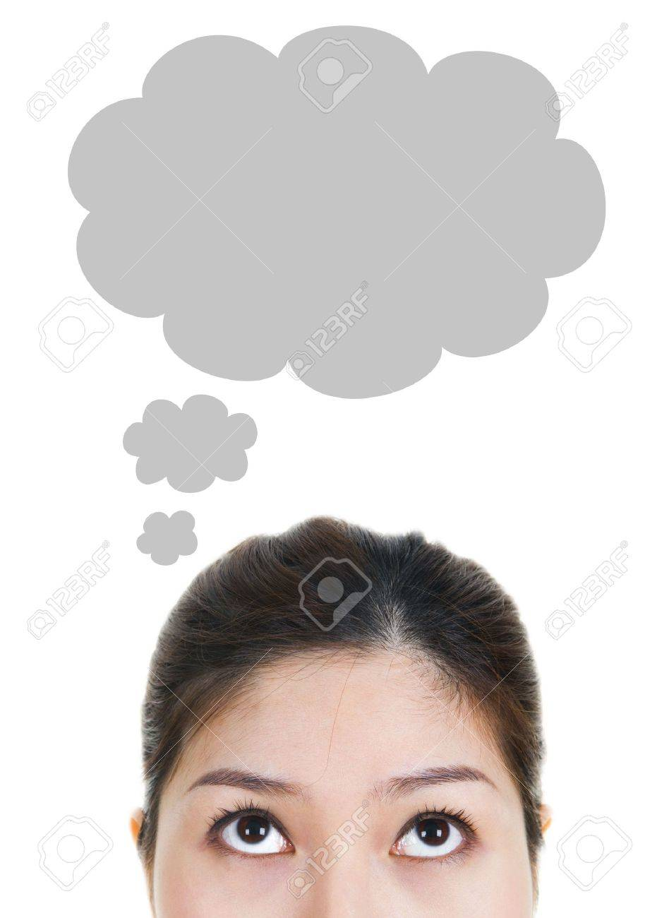 Thought - Young Woman Having Thought Bubble Stock Photo - 4404490