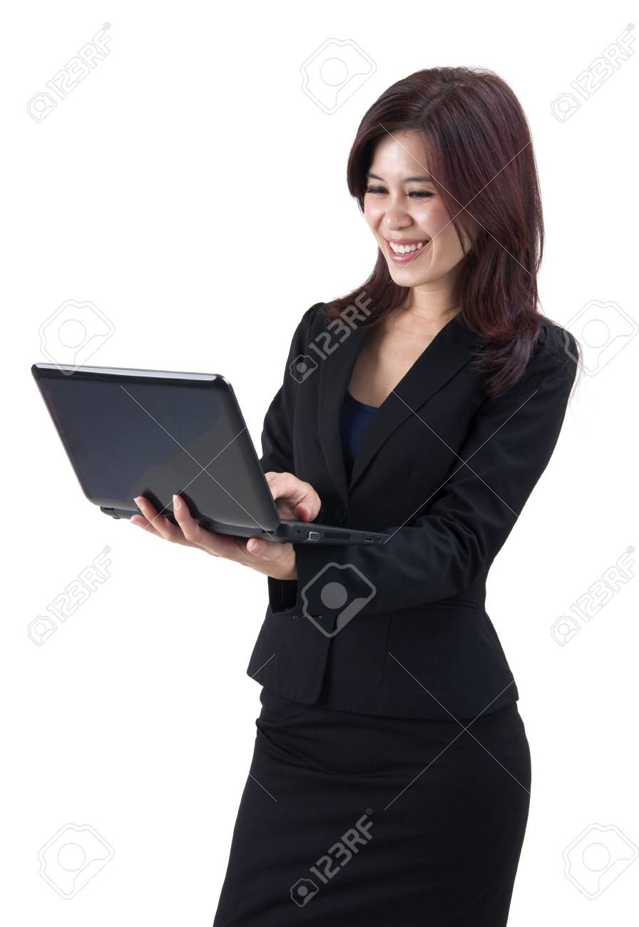 Asian women using laptop over white background Stock Photo - 10567176