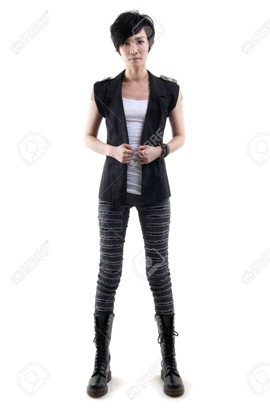 Punk girl full body on white background - 10794851
