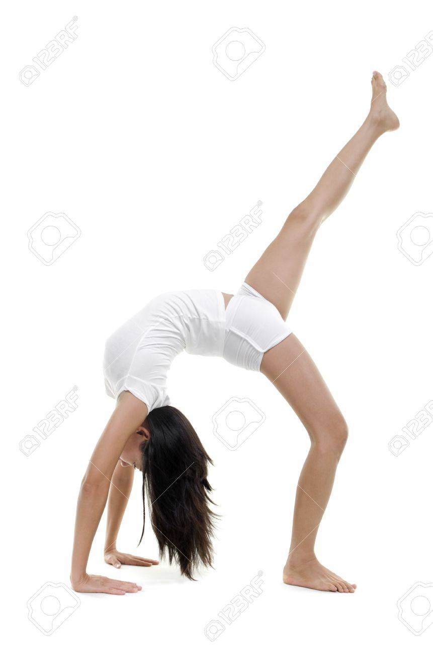 Frau In Yoga Pose One Legged Aufschauenden Bow Eka Pada Urdhva