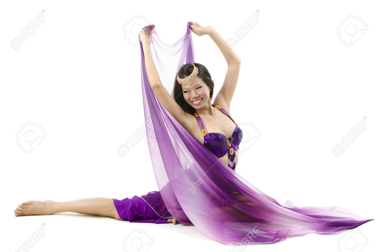 Belly dancer dancing on floor, white background Stock Photo - 12666365