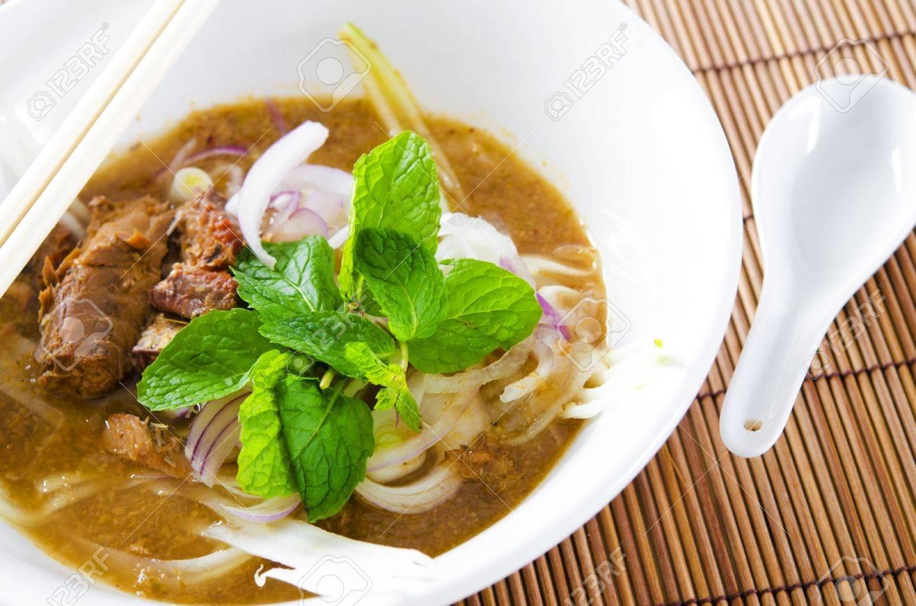 Famous Malaysian Spicy Soup Noodles, Penang Asam Laksa Stock Photo