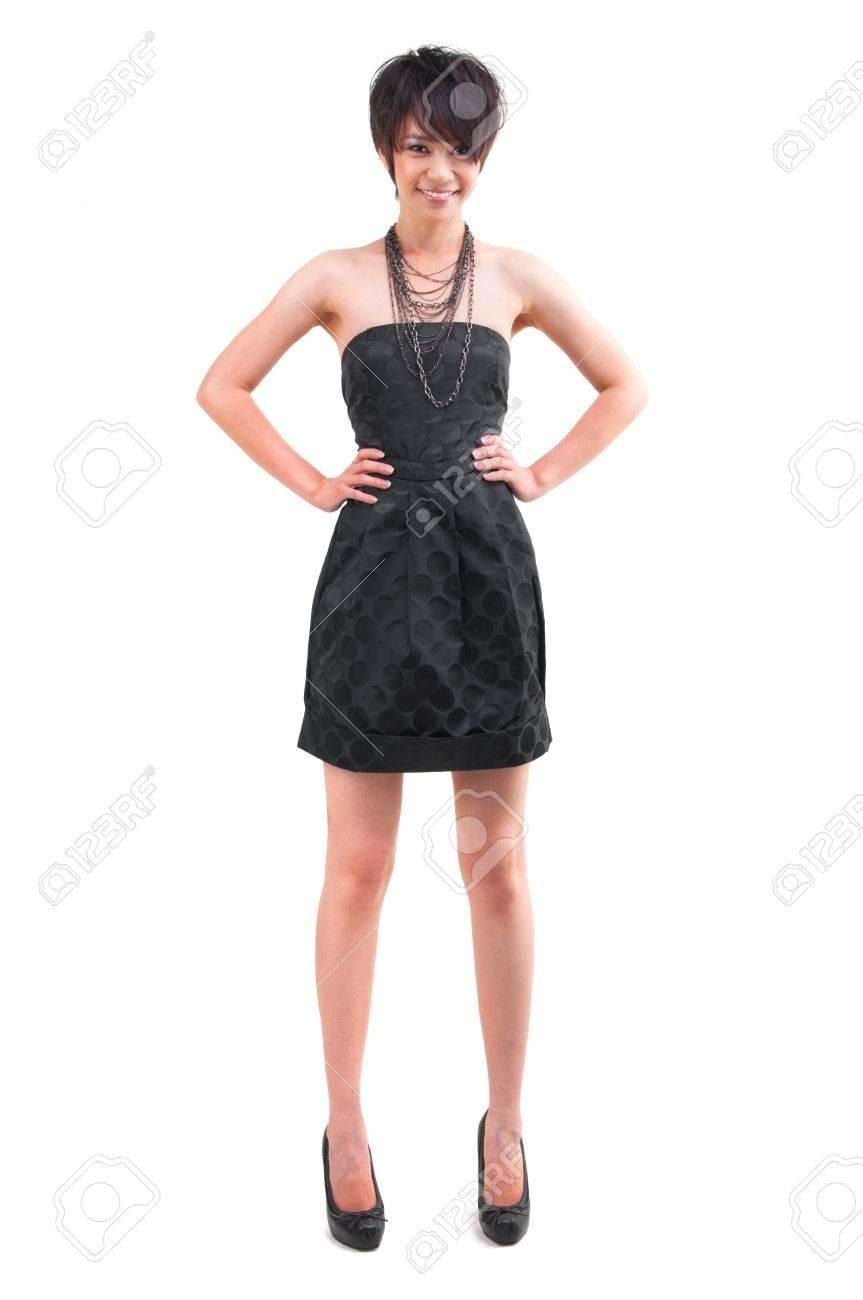 Kurze Haare Asian Stylistin Mädchen Stand Ganzkörper Auf Weißem ...