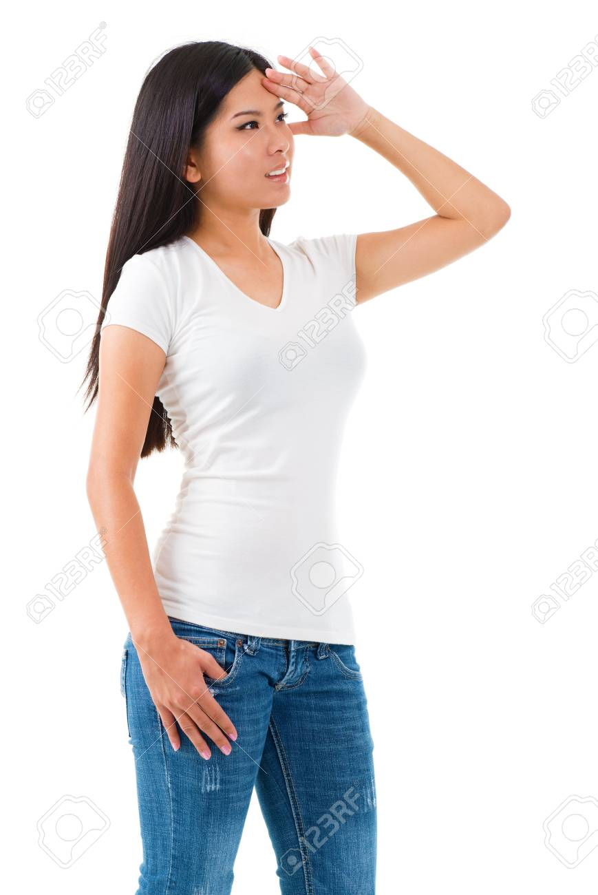 Young Asian female shielding her eyes and looking away Stock Photo - 15616738