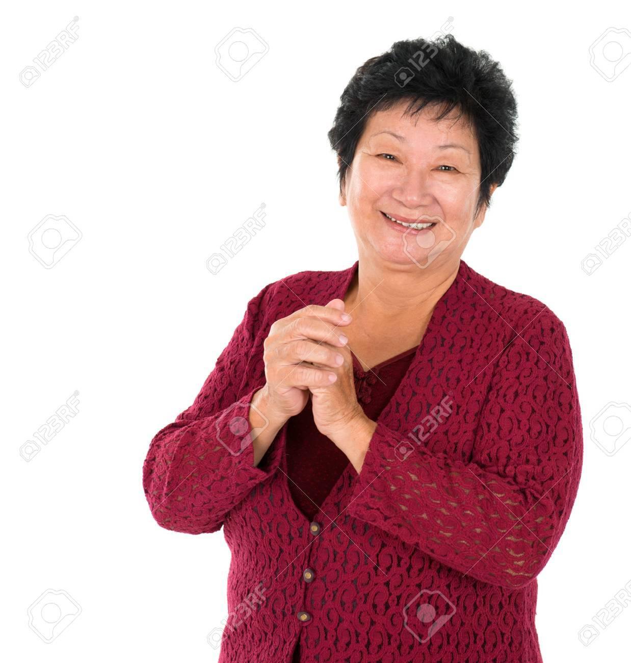 Happy Chinese New Year. Chinesische ältere Frau, Gruß, Isoliert Auf ...