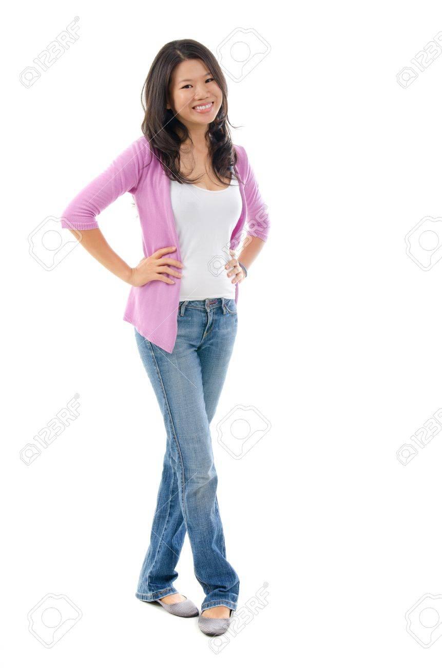 Full body Southeast Asian female smiling over white background - 17288033