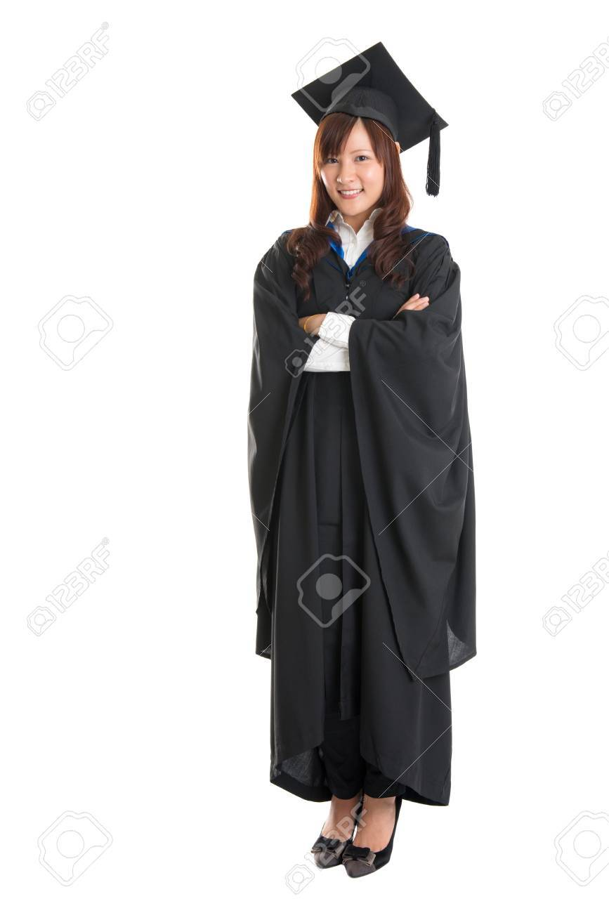 Full Body Happy Asian Girl Student In Graduation Gown Standing ...