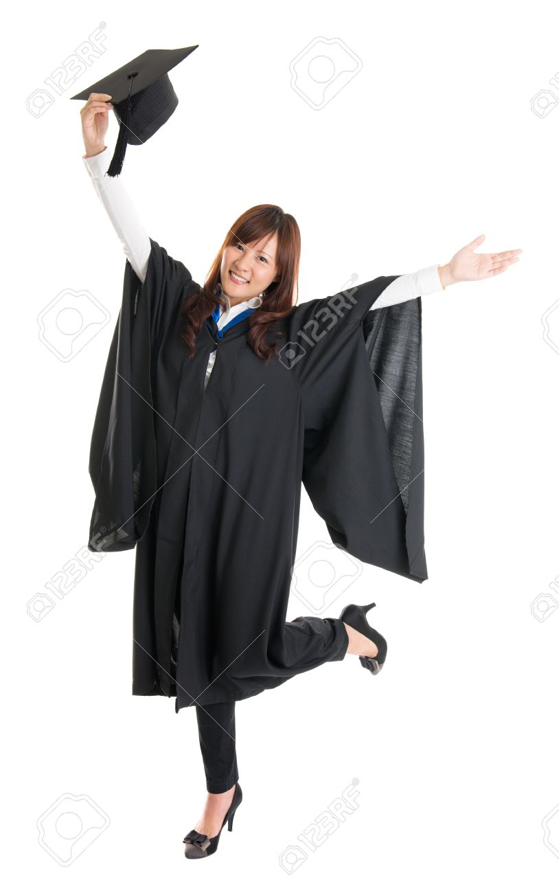 Full Body Excited Asian Female Student In Graduation Gown Hands ...