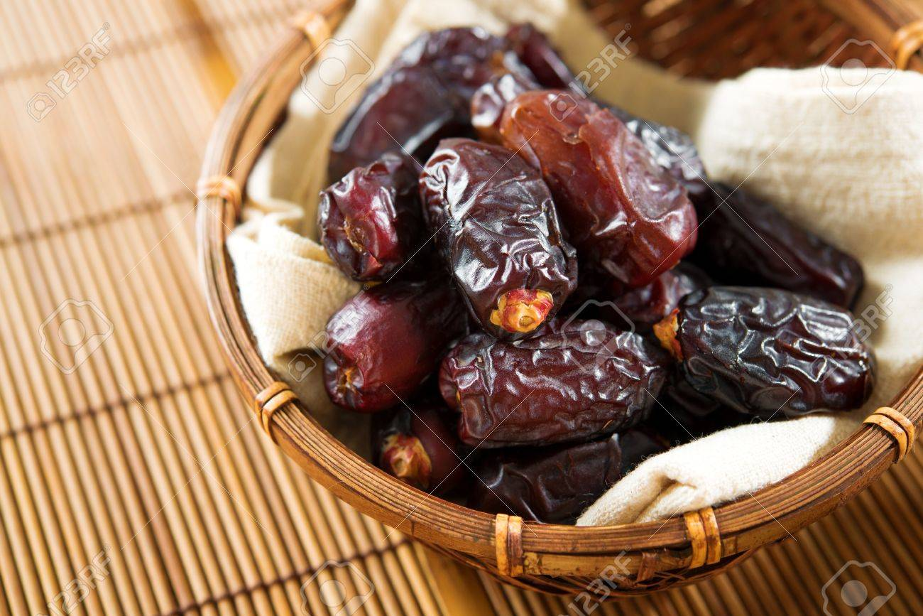 Dried Date Palm Fruits Or Kurma Ramadan Food Which Eaten In Stock