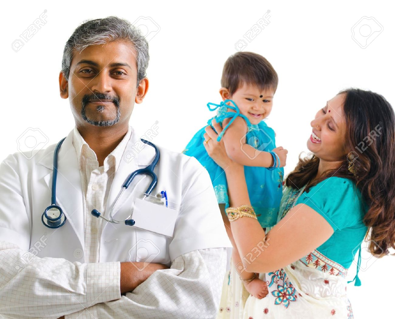 smiling indian medical doctor and patient family health care