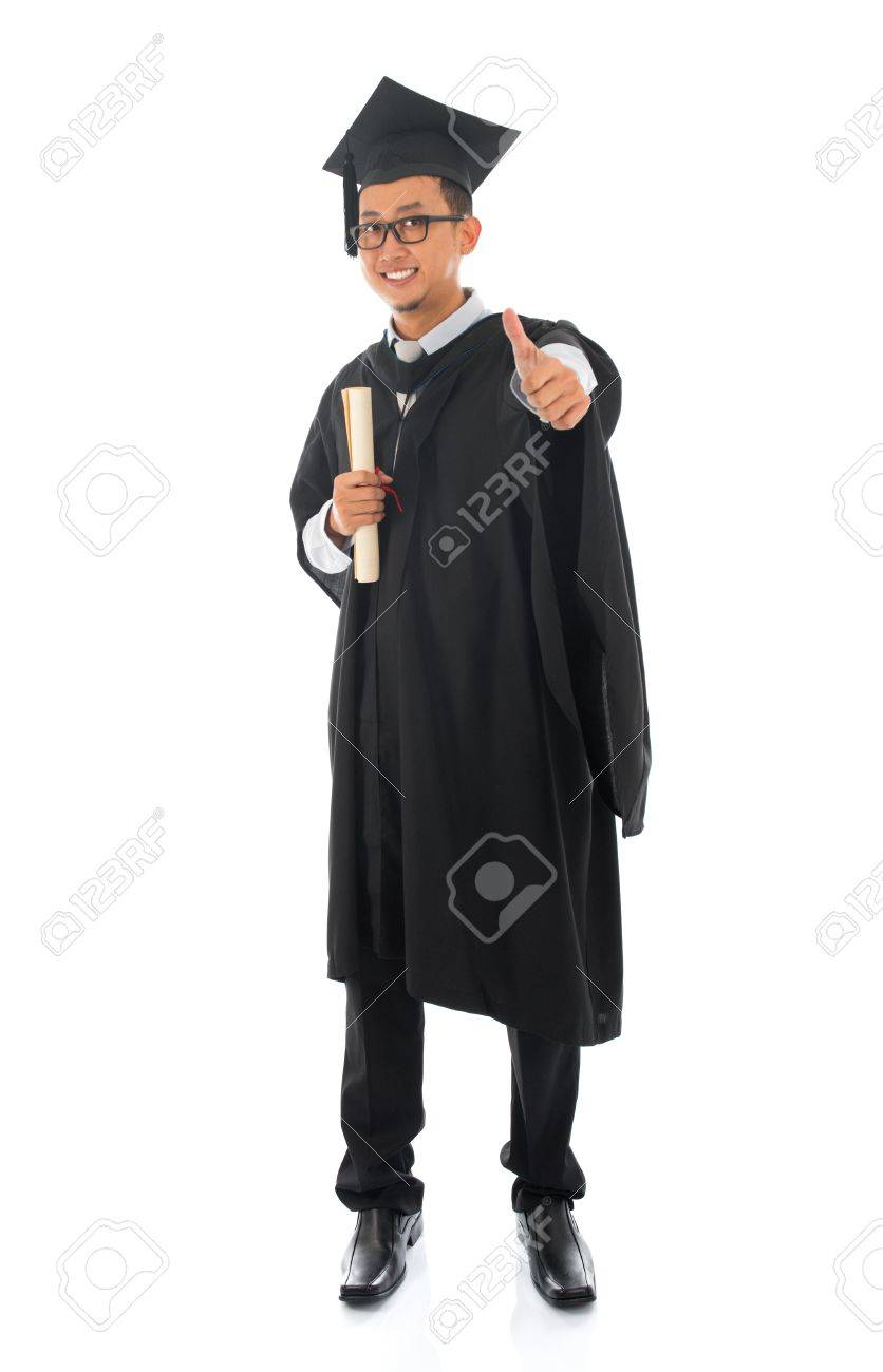 Full Body Asian Male University Student In Graduation Gown Thumb ...