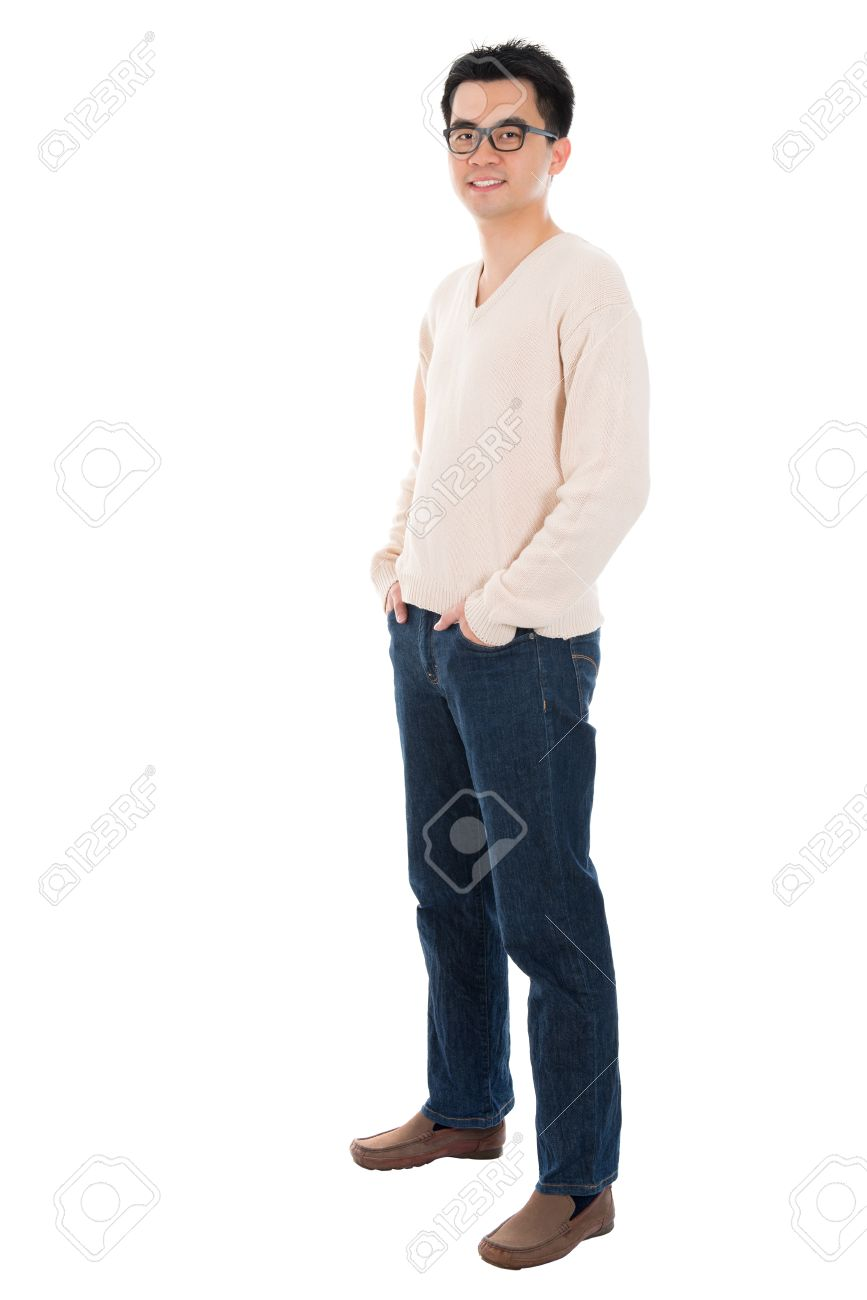 Front view full body casual Asian man standing isolated on white background - 21144392