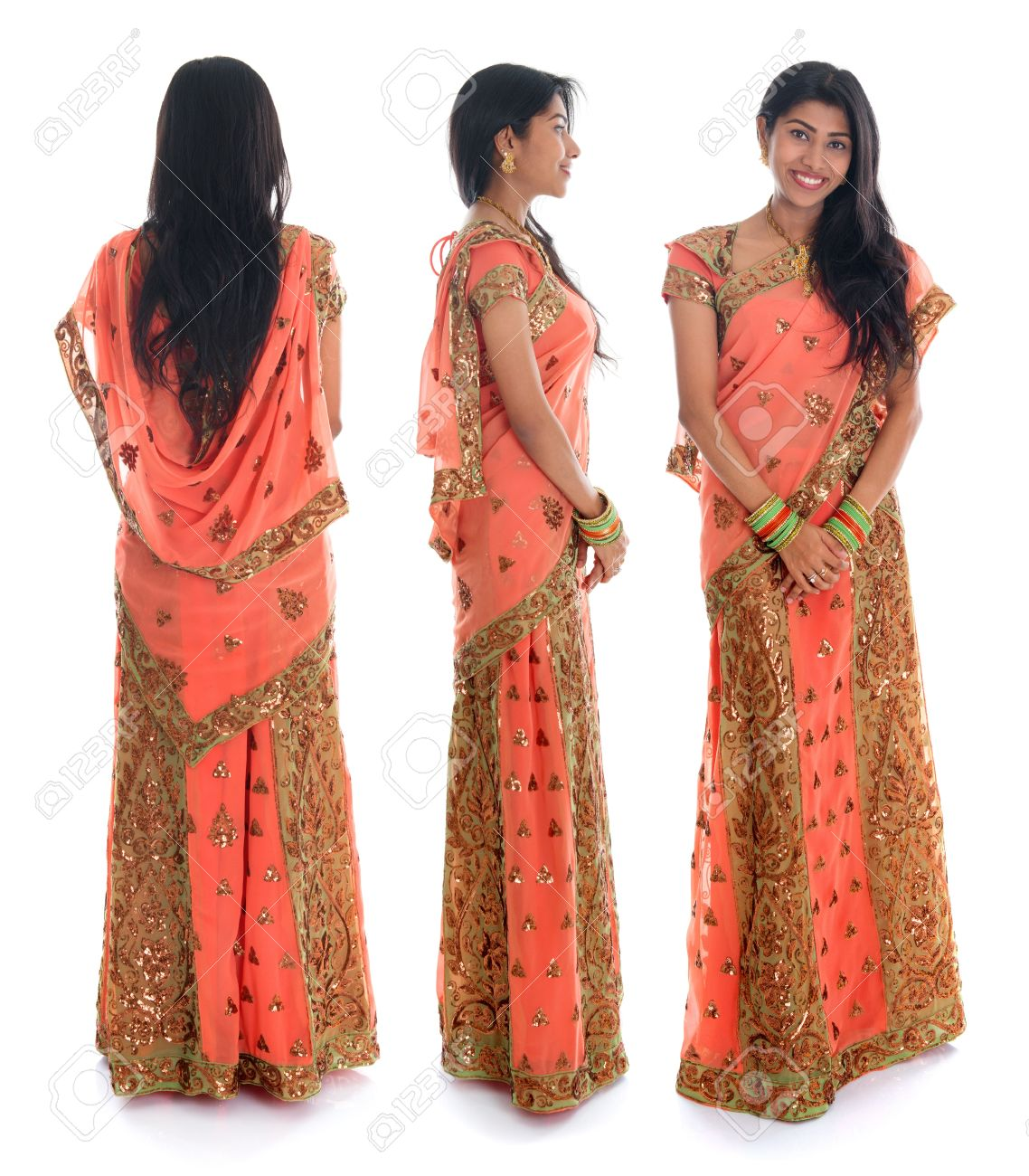 Full body traditional Indian woman in sari costume different angle front side and rear view  sc 1 st  123RF.com & Full Body Traditional Indian Woman In Sari Costume Different.. Stock ...