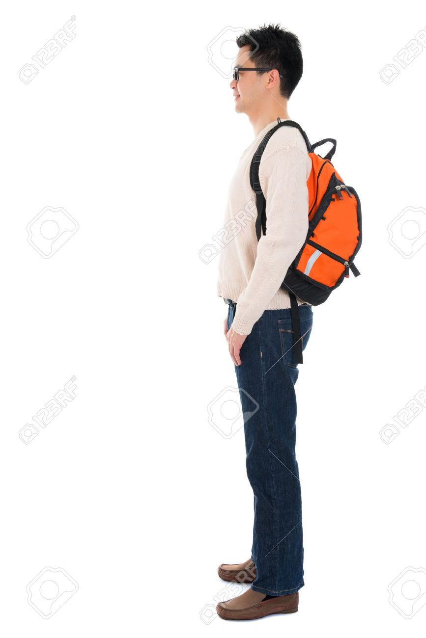 Side view full body Asian adult student in casual wear with school bag standing isolated on white background. Asian male model. - 21511579