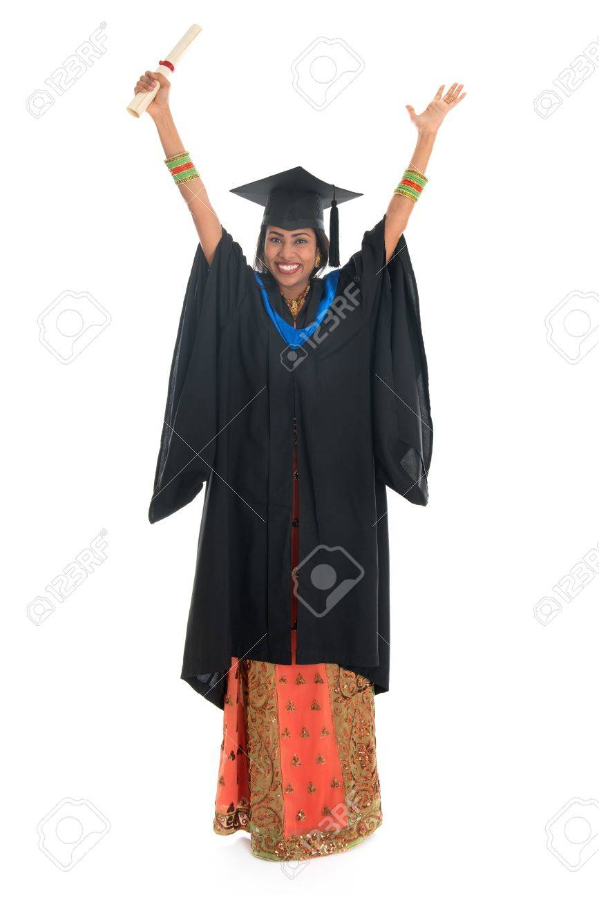 Full Length Arms Up Indian University Student In Graduation Gown ...