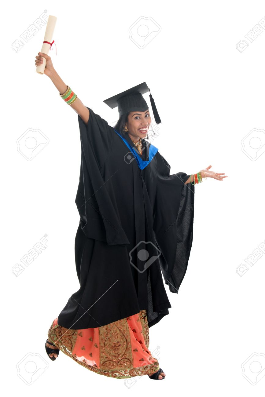 Full Length Happy Indian University Student In Graduation Gown ...