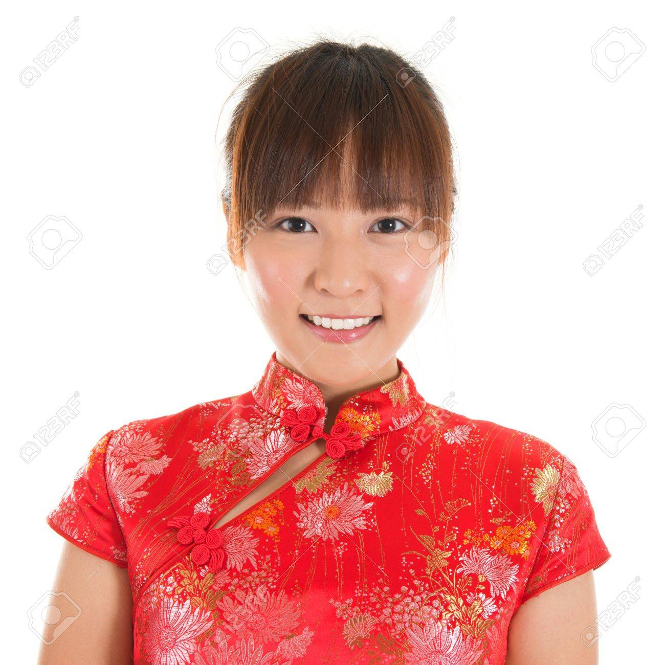 Asian Woman With Chinese Traditional Dress Cheongsam Or Qipao