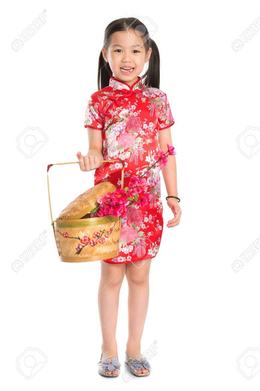 Full length China girl in traditional Chinese cheongsam dress..