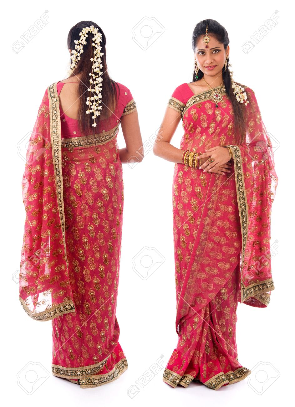 full body traditional indian girl in sari costume different angle