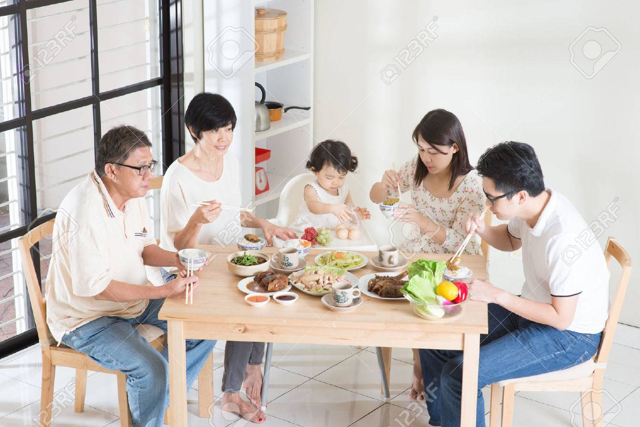 Happy Asian Chinese multi generations family dining at home. - 43523642