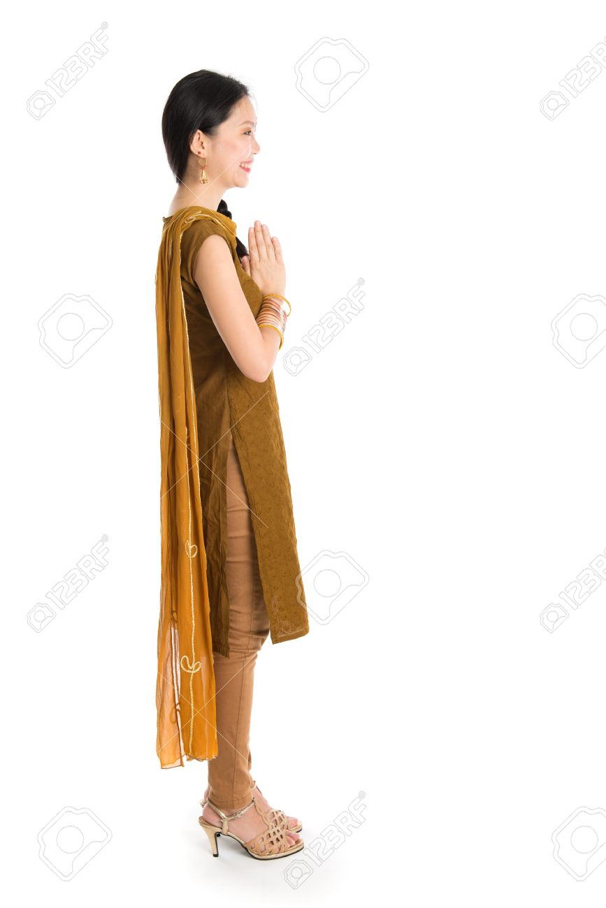 Side View Of Young Mixed Race Indian Chinese Girl In Traditional
