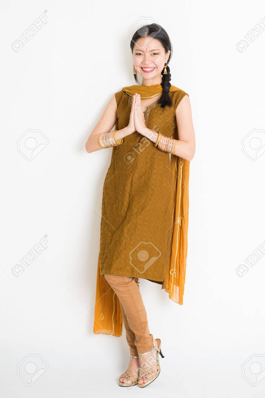 Portrait Of Mixed Race Indian Chinese Girl In Traditional Punjabi
