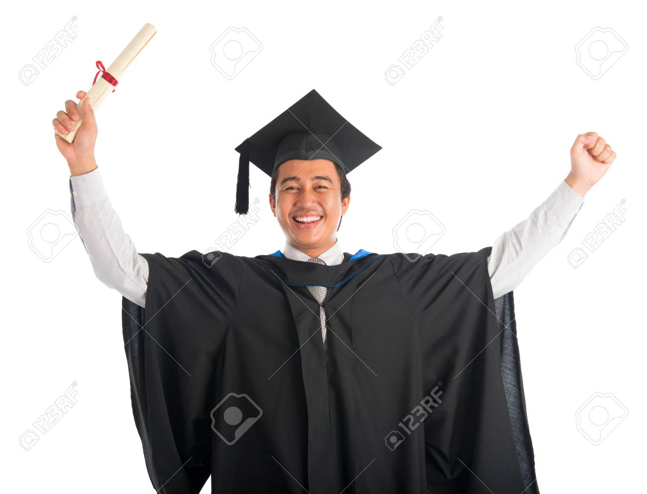 Waist Up Happy Asian Male University Student In Graduation Gown ...