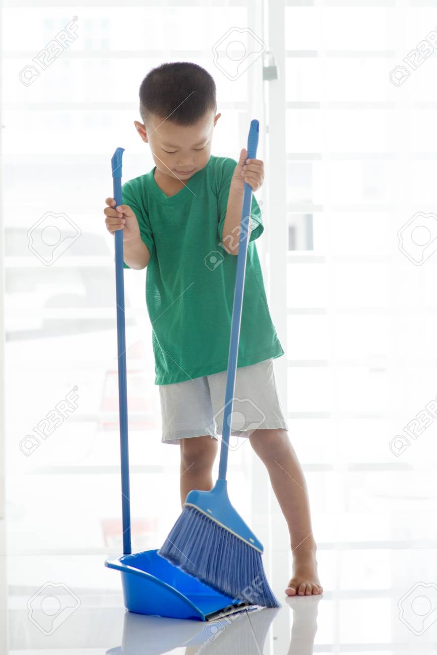 asian boy sweeping floor with broom young child doing house stock photo picture and royalty free image image 98826315 123rf com