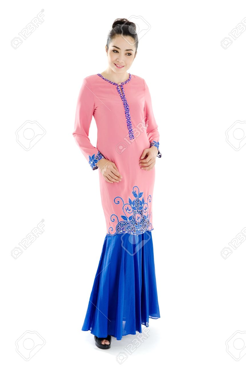 Beautiful Muslim Woman In Elegant Traditional Dress Baju Kurung