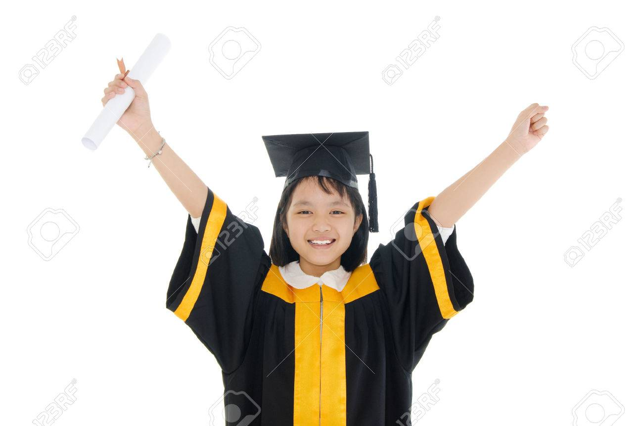 Asian School Kid Graduate In Graduation Gown And Cap Stock Photo ...
