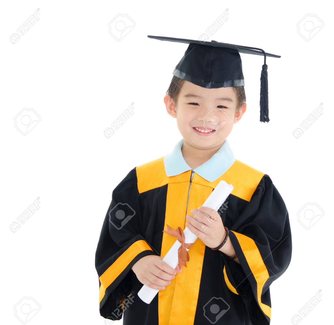Asian Boy In Graduation Gown And Mortarboard Stock Photo, Picture ...