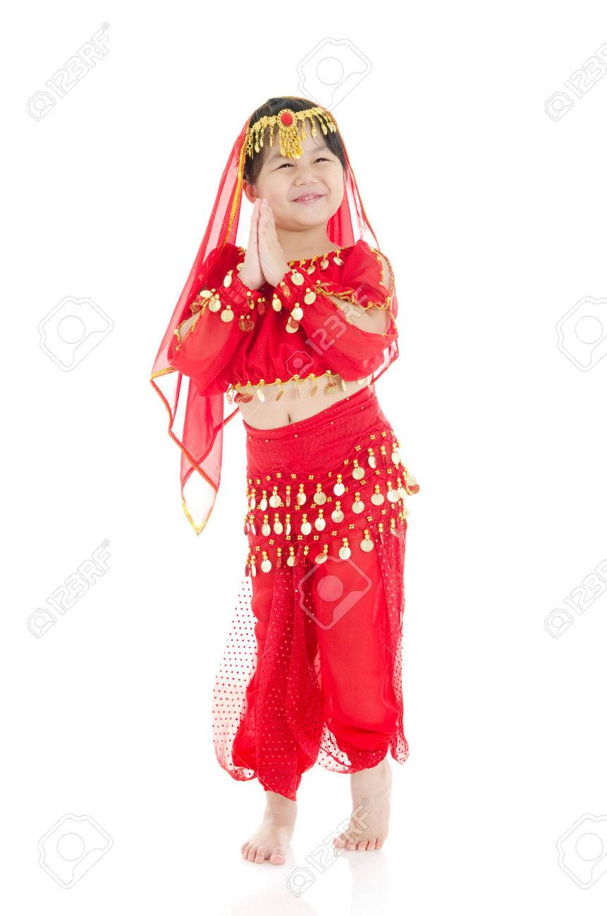 Little girl in traditional indian costume saree and dancing Stock Photo - 31389850  sc 1 st  123RF.com & Little Girl In Traditional Indian Costume Saree And Dancing Stock ...