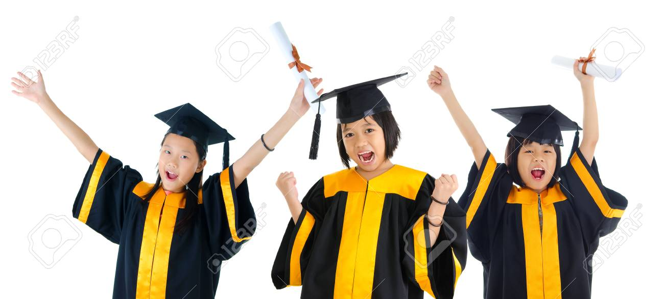 Group of excited school kids in graduation gown Stock Photo - 34483182  sc 1 st  123RF.com & Group Of Excited School Kids In Graduation Gown Stock Photo Picture ...