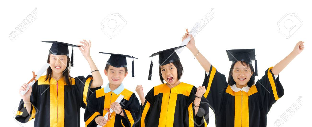 Group of excited school kids in graduation gown Stock Photo - 34483276  sc 1 st  123RF.com & Group Of Excited School Kids In Graduation Gown Stock Photo Picture ...