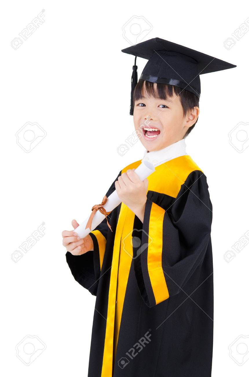 Cheerful Asian Boy In Graduation Gown And Mortarboard Stock Photo ...