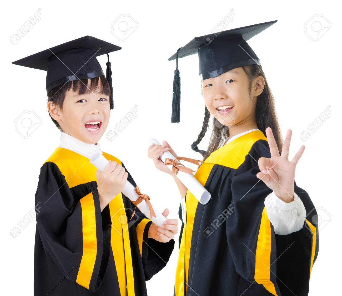 Asian Kids In Graduation Gown Stock Photo, Picture And Royalty Free ...