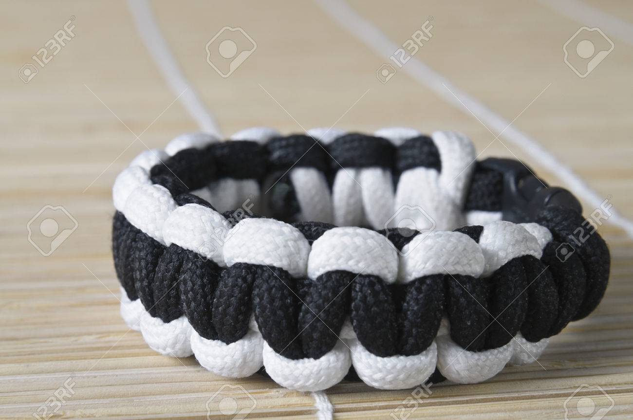 Simply Black And White Two Color Paracord Macro Bracelet Stock ...