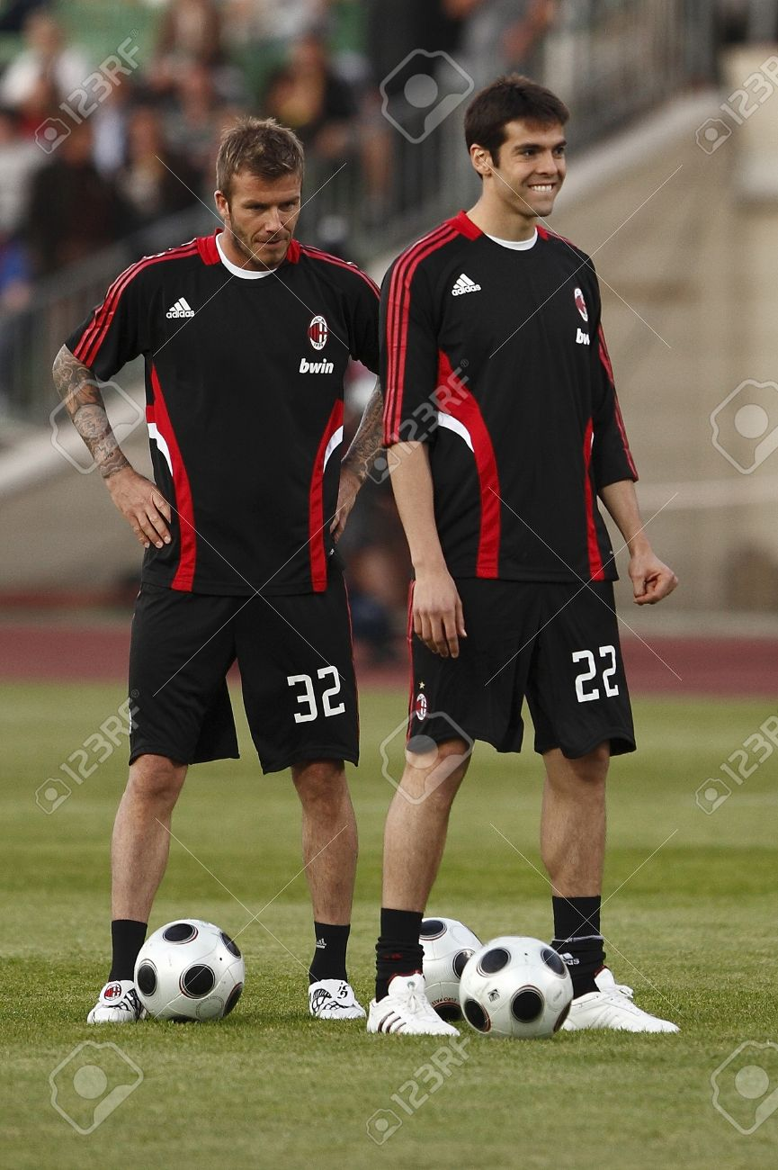 Beckham L And Kaka R Milan Before Hungarian League Team