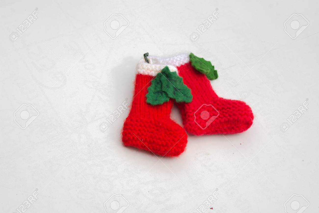 Knitted Christmas Stocking Ornaments Handmade