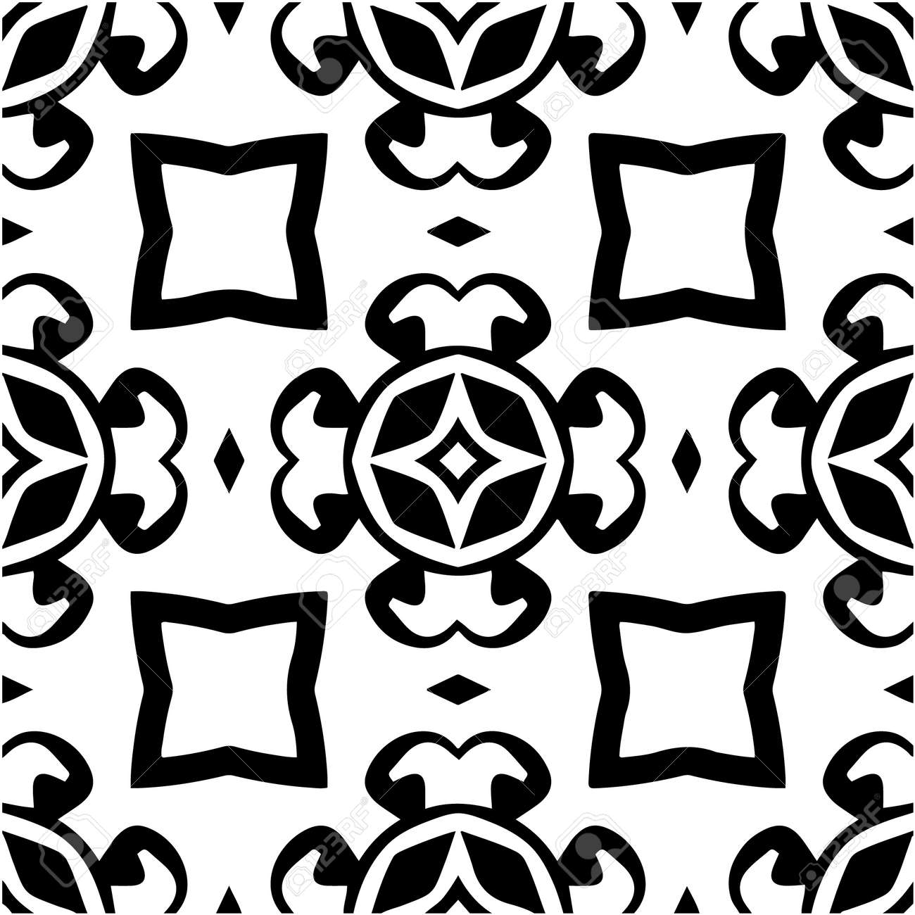 Geometric vector pattern with triangular elements. Seamless abstract ornament for wallpapers and backgrounds. Black and white colors. - 168440484