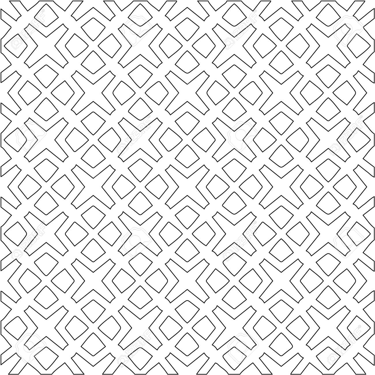 Geometric vector pattern with triangular elements. Seamless abstract ornament for wallpapers and backgrounds. Black and white colors. - 168441443