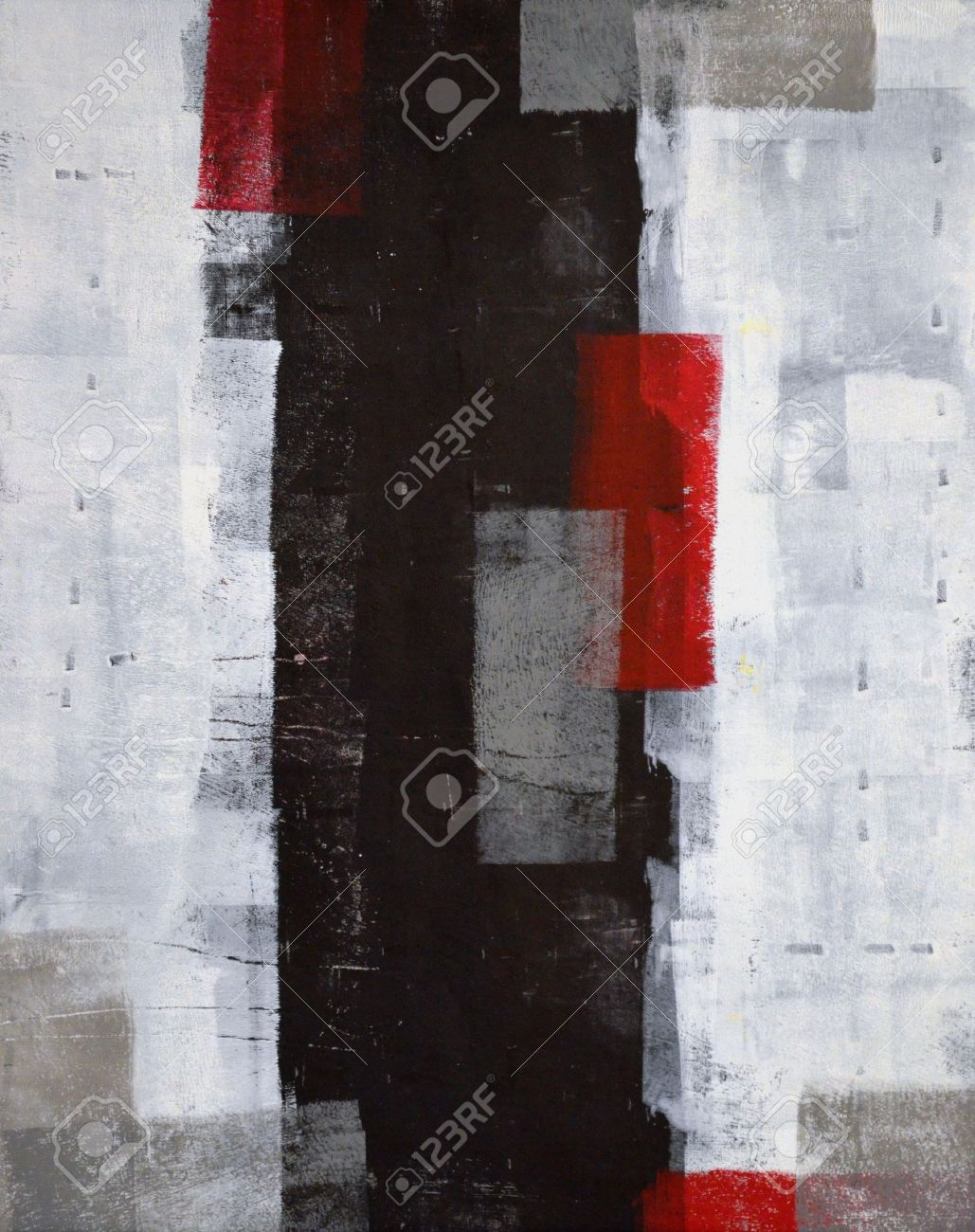 Grey and Red Abstract Art Painting Stock Photo - 20354231