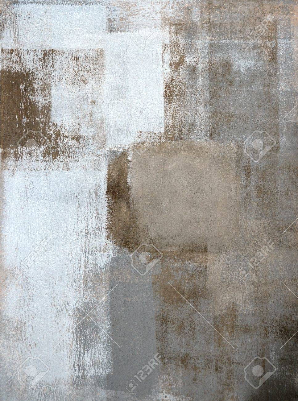 Brown and grey abstract art painting