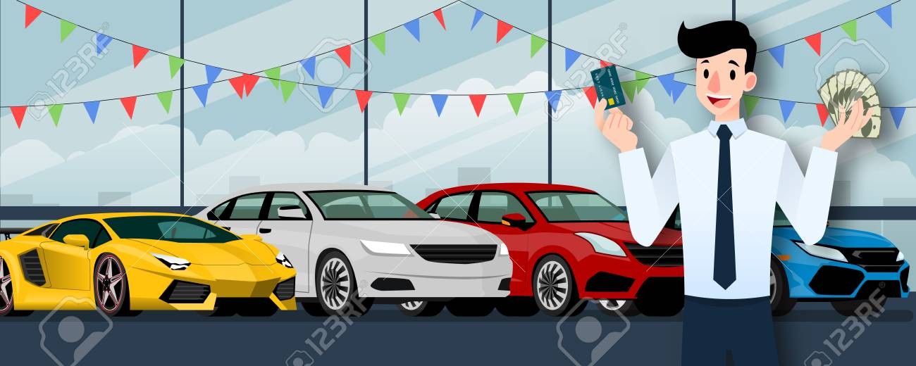 Happy businessman, seller stand and holding a credit card and money in front of group luxury car that parking in large showroom in the city. - 110354195