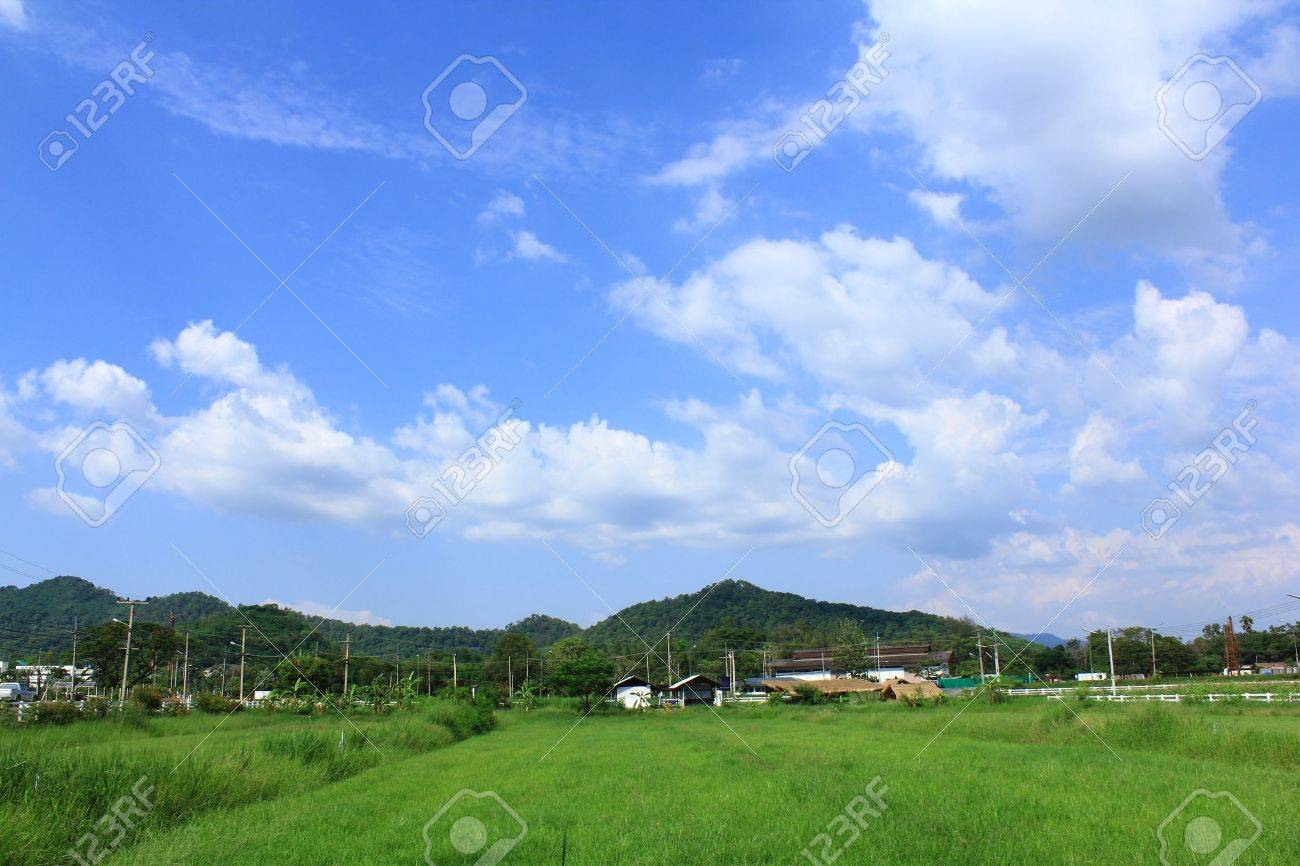 Hills and farms in thailand Stock Photo - 13360470